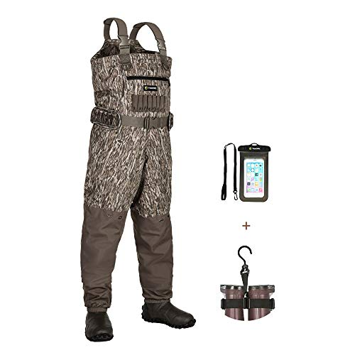 TIDEWE Breathable Insulated Chest Wader with Boot Hanger, 1200G Insulation Waterproof Bootfoot Hunting Wader with Steel Shank Boots, 120 Insulated Liner Mossy Oak Camo Hunting Fishing Wader (Size 7)