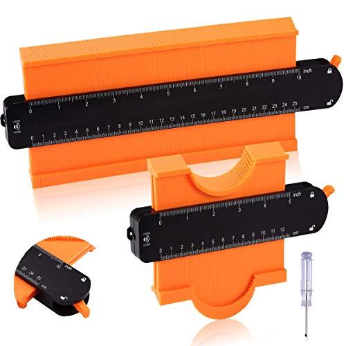 2 Stücke Konturenlehre mit Feststeller, ACELIFE 250mm und 120mm Kontur Werkzeug Konturlehre für Unregelmäßiges Profil, Fliesen, Teppiche und Laminat