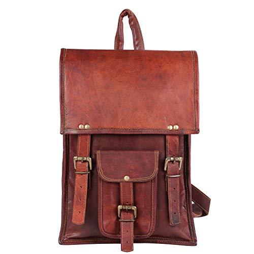 GNG - Borsa vintage in pelle stile vintage fatta a mano zaino borsa college 11x16