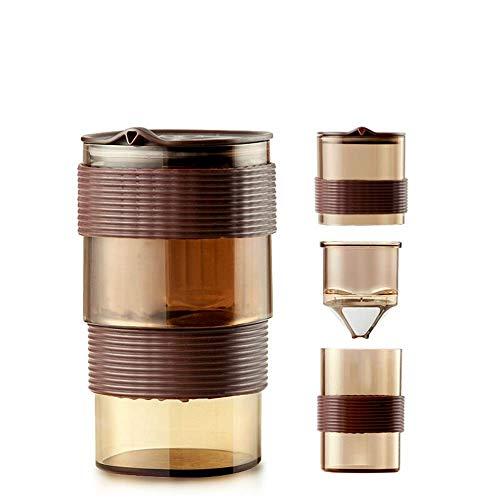 HYY-YY Café francés de Prensa Pot Coffee Pot Portable del Filtro de Acero Inoxidable FilterSmall Boca Pot Taza Taza de café combinada Cafetera (Color: Marrón, Tamaño: 150 ml)