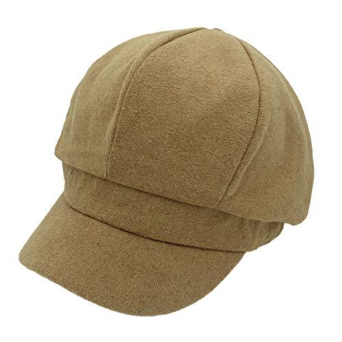 Outfly Cappucci per Pannelli in Misto Lana 8 Cappello Donne Baker Boy Style,Albicocca