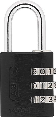ABUS Zahlenschloss 145/20 Schwarz - Vorhängeschloss aus massivem Aluminium - mit individuell einstellbarem Zahlencode - 34611 - Level 3