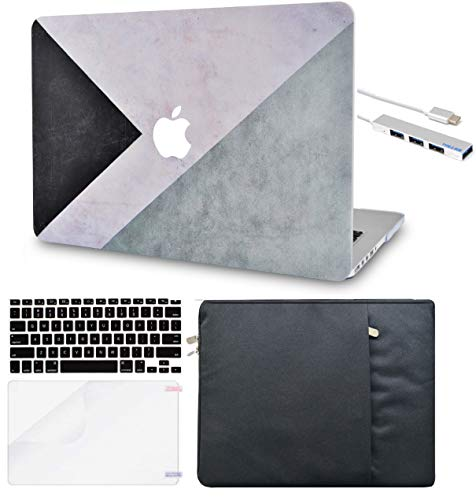LuvCase 5 in 1 Laptop Case for Old MacBook Pro 13' Retina Display (2012-2015) A1502/A1425 Hard Shell Cover, Sleeve, USB Hub 3.0, Keyboard Cover & Screen Protector  Black White Grey
