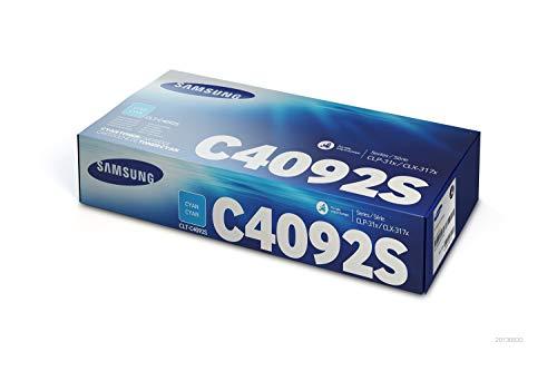Samsung CLT-C4092S, SU005A, Cian, Cartucho Tóner Original, de 1.000 páginas, compatible con impresoras Samsung LaserJet Color CLP-310, CLP-310N, CLP-315, CLP-315W, CLX-3170FN, CLX-3175N y CLX-3175FN