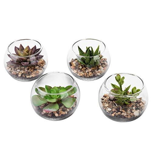 4 X Mini Künstliche Sukkulenten im Topf,Kunstblumen Pflanzen Faux Plastikblumen Bonsai Kunstpflanze mit GlasTopf,Künstliche Kaktus für Wohnzimmer Balkon Badezimmer Büro Hochzeit Dekor,Weihnachten