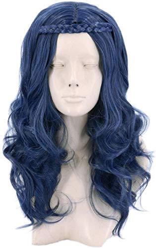 yvyuan Azul Niños Niño Evie Peluca de Cosplay del Vestido de Lujo de la Peluca Larga Onda Oscura Peluca for Halloween, Traje, Partido