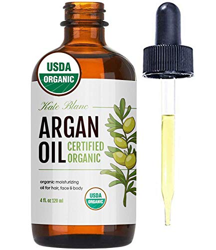 Moroccan Argan Oil, USDA Certified Organic, Virgin, 100% Pure, Cold Pressed by Kate Blanc. Stimulate Growth for Dry and Damaged Hair. Skin Moisturizer. Nails Protector. 1-Year Guarantee. (Light 4oz)