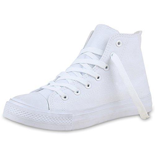 SCARPE VITA Damen High Top Sneakers Stoffschuhe Trendfarben Sportschuhe 132508 Weiss Total 39