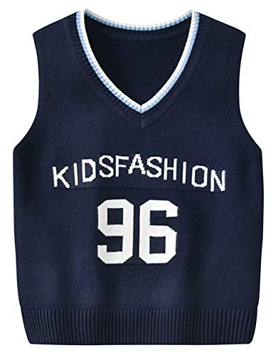 DEMU kinderen jongens V-hals vest top katoen gebreid vest sweater pullover 110 donkerblauw