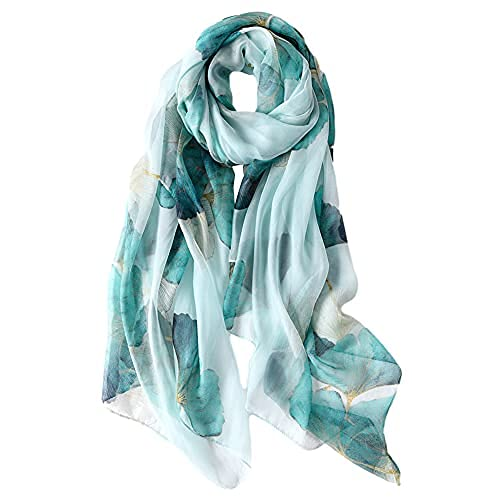 STORY OF SHANGHAI Bufanda de Seda Mujer 100% Seda Estampado Floral Colorido Gran Bufanda Mantón Ultraligero Transpirable Elegante Nuevo, Ginkgo Biloba Verde