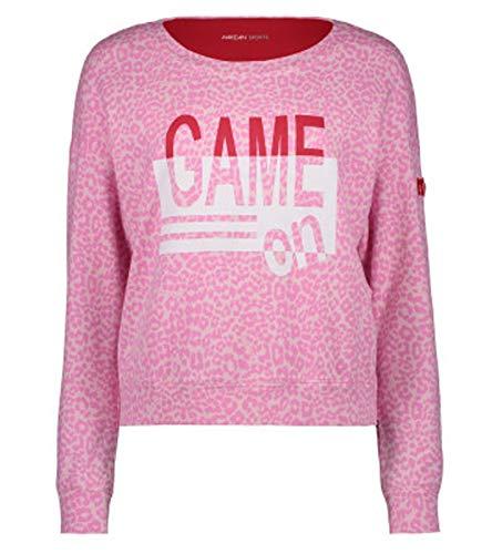 MARC CAIN Felpa Sportiva Camicia a Maniche Lunghe da Donna alla Moda Rosa/Bianca, Dimensione:42