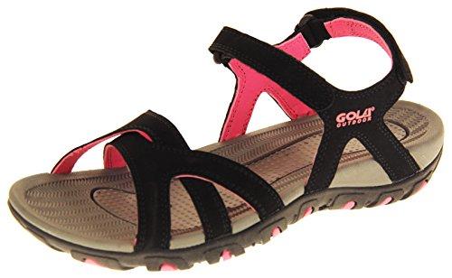 Gola Mujer Sandalias Deportivas Zapatillas de Senderismo Negro y Rosa