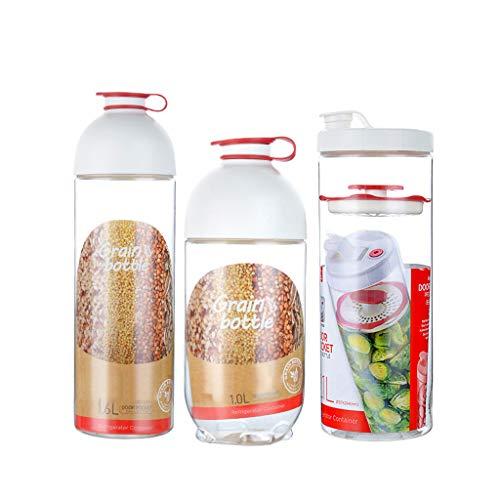 liangzishop Botes Especias Contenedor de Almacenamiento de Cocina de Alimentos de latas Selladas Transparentes de diseño Multifuncional con Sello de Tapa (Paquete de 3) Tarro de Especias
