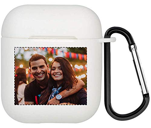 Funda personalizada para Airpods con foto y texto en los dos lados, suave TPU personalizado DIY Cover para Airpods 1 y 2 (blanco)