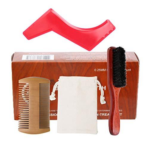 Soin Barbe Kit Barbe Croissance Parage Kit cheveux toilettage Set barbe brosse peigne Stimulez barbe croissance avec forme Règle cadeau pour les hommes