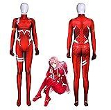 DDBAKT Los últimos disfraces de Halloween Darling In The Frankxx 02 Zero Two Cosplay Mono ajustado con impresión 3D Zentai Body (color natural, tamaño: M)