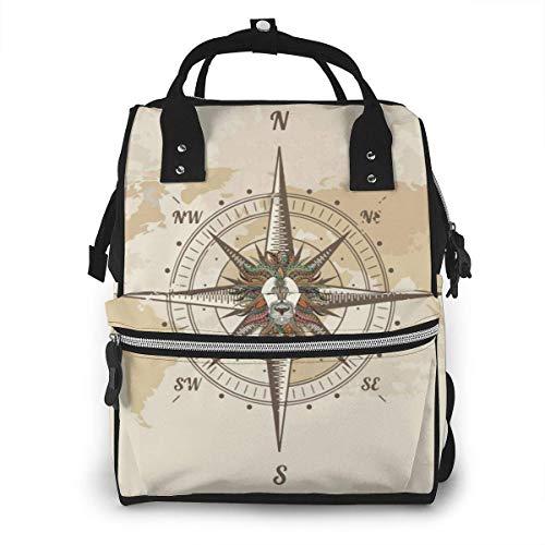 GXGZ Vintage Nautical Compass Old World Map sac à dos imperméable à couches, compartiment avec deux poches et huit rangements, sacs d'allaitement élégants et durables pour les parents