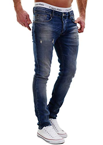 Merish 2081-1001 Jean Destroyed, pantalon slim, en denim, pour homme, coupe ajustée - Bleu - 31W x 32L
