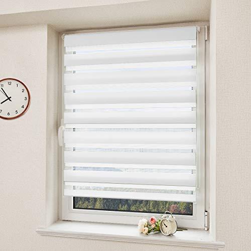 Doppelrollo Klemmfix Duo Rollo ohne Bohren Rollos für Fenster und Tür Faltrollo mit Klemmträger Raffrollo Lichtdurchlässig und Verdunkelnd Weiß 60x150cm(BxH)