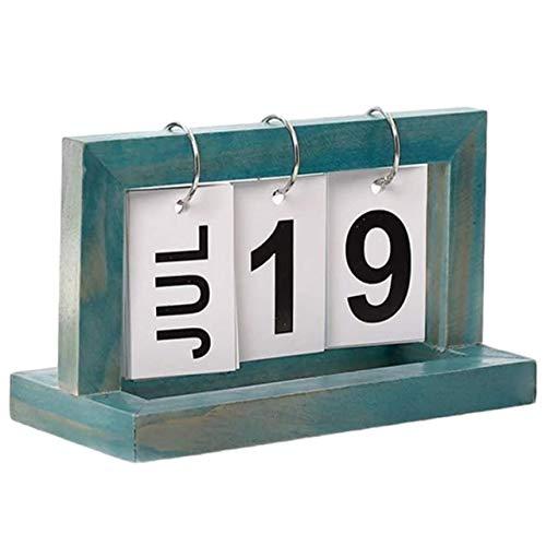 TOMMYFIELD カレンダー 日めくりカレンダー 卓上 オフィス インテリア 木製 デスク シンプル ヴィンテージ 青