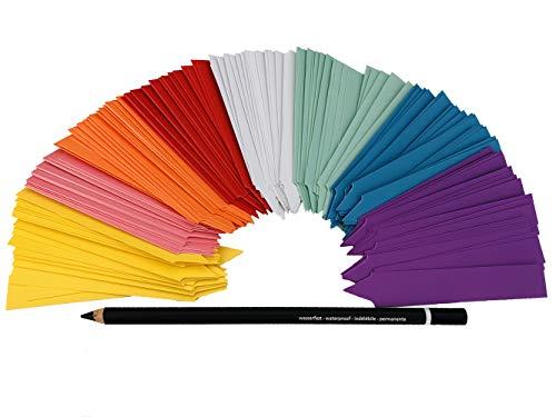 GREEN24 Profi Stecketiketten Set mit 160 Etiketten in 8 Farben mit Fettstift zum Beschriften für Aussaat + Anzucht | 8x20 Pflanzschilder in den Farben gelb, rosa, orange, rot, weiß, grün, blau, lila