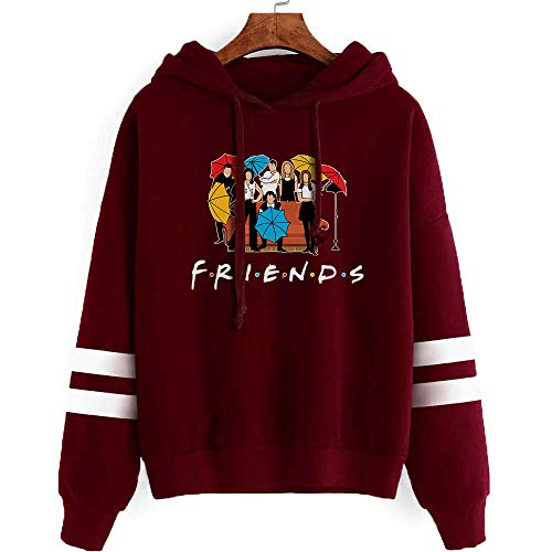 Fashion Friend Sweatshirt Hoodie Friend TV Show Merchandise Women Graphic Hoodies Pullover Funny Hooded Sweater Tops Clothes (Wine red, L)