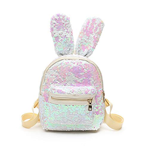 Small Sequin White Little Girls Backpack Purse for Kids Child Fashion Bunny Leather Ladies Urban Daypack