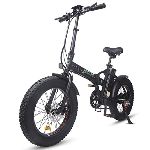 ECOTRIC Powerful Foldable Fat Tire Bike 48V/13AH Li-ion Battery 500W Motor 20' X 4' Fat Tire Aluminum Frame Electric Beach Mountain Snow Ebike Electric Bicycle (Black)