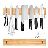 Somic Barre Aimantée pour Couteaux Magnetique Murale Bois Bambou De Cuisine Etagère sans Vis Support Knife Holder 50cm 1Pcs