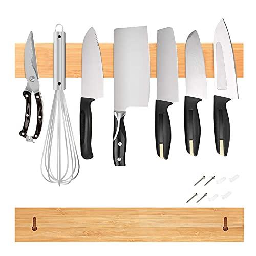 Messerhalter Magnetisch Holz Messerleiste Bambus Wand Stark Messermagnet Magnetleiste Werkzeug Messer mit/ohne Bohren 50cm 1st