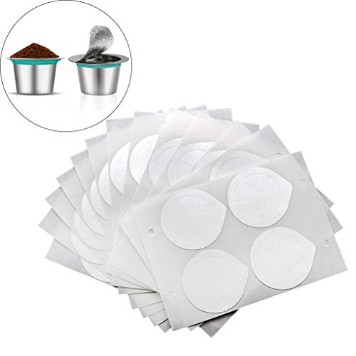 Rolin Roly 100 Stück Selbstklebende Kapseln Folie Dichtungen Kompatibel mit Nespresso, Wegwerf Kaffeefoliendeckel Aluminum Foil Lids