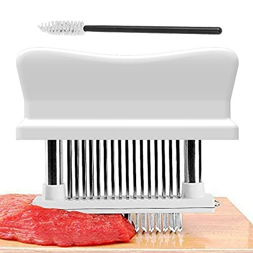 Yokgrass Meat Tenderizer Tool, with 48 Stainless Steel Sharp Needle Blade and Cleaning Brush, Heavy Duty Cooking machine for Tenderizing Beef, Turkey, Chicken, Steak, Veal, Pork, Fish(White)