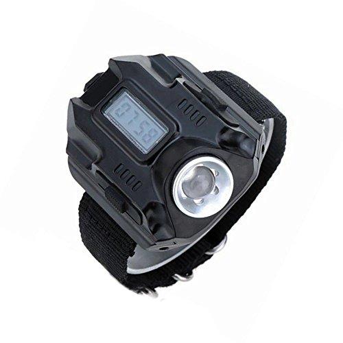 SODIAL Muneca LED luz, Reloj Recargable impermeable de linterna LED con brujula