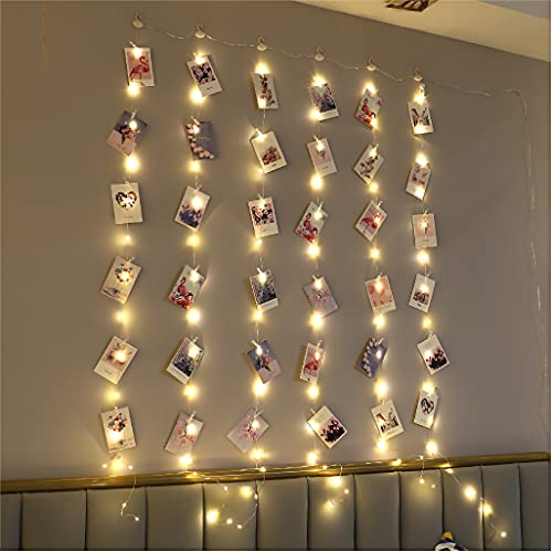 ZSJWL 3.3×5ft Short Curtain Lights with 8 Hook for Small Windows, 96 LED Warm White Photo Clips String Light with 52 Clear Clips, Remote Control 8 Modes USB Plug Fairy Lights for Bedroom, Party, Wall
