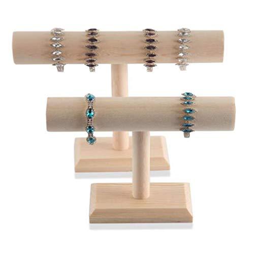 weichuang Soporte de exhibición de la joyería portátil de la pulsera de la madera dura de la cadena T del sostenedor de la barra de la joyería del soporte de exhibición de la joyería