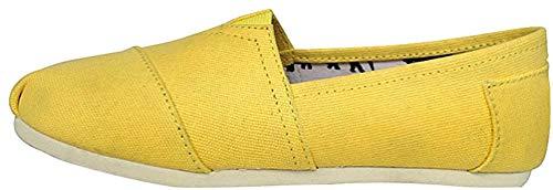 Dooxii Unisex Hombre Mujer Ocasionales Loafer Zapatos Moda Color Sólido Planos Alpargatas Amarillo 35(22.5cm)