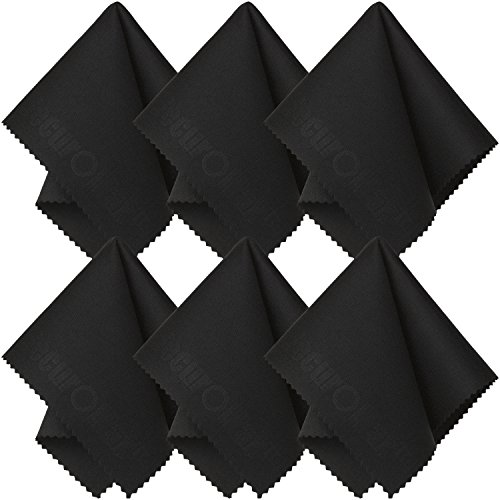 SecurOMax Black Microfiber Cleaning Cloth 6x7 Inch 6 Pack