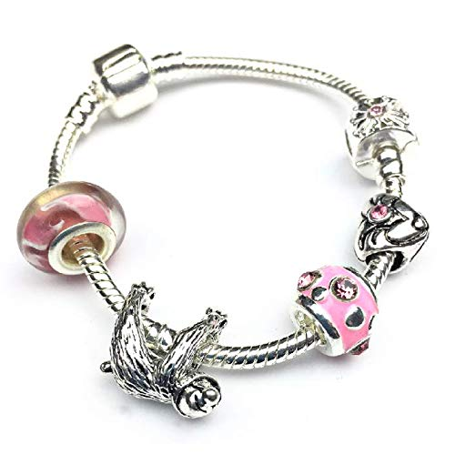 Liberty Charms Girls Pink Just Hanging Sloth Silver Plated Charm Bracelet Gift. (5-8yrs/16cm)