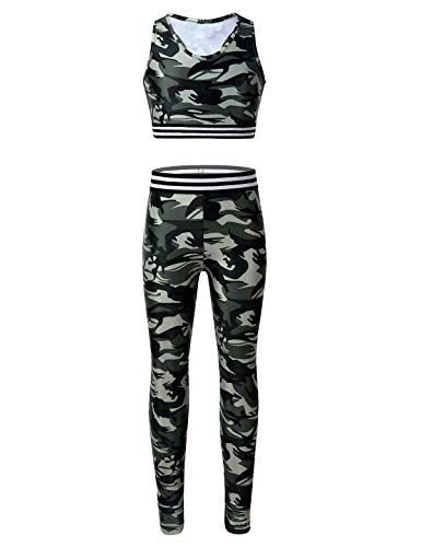 iiniim Mädchen Trainingsanzug Tank Tops Ärmellos Shirt mit Kurze Hose Tights Leggings Sportanzug Fitness Yoga Tanzen Sportkleidung Armeegrün 146-152