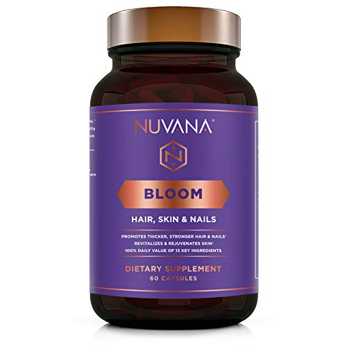 Bloom for Healthy Hair, Skin & Nails | 5000mcg Biotin, MSM, Hyaluronic Acid, B Complex Vitamins | Vegan, Non-GMO, Gluten Free | Growth, Thickening, Strength for Men & Women | 60 Capsules