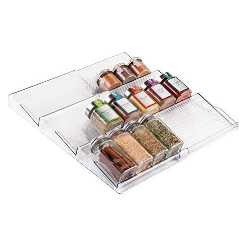 mDesign Gewürzregal für Schublade – ausziehbarer Gewürzständer von 20 cm bis 39 cm aus Kunststoff für alle Küchenschubladen geeignet – Schubladeneinsatz auf 3 Ebenen - durchsichtig