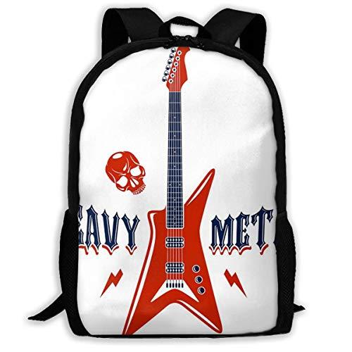 Mochila Escolar Heavy Metal Music con Guitarra eléctrica Bookbag Casual Travel Bag...
