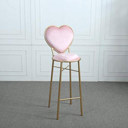 hongyan Wrought Iron Heart-Shaped Stools Flannel Lounge Chairs Kitchen Counter Dessert Shop High Bar Stool with Backrest Cafe Golden Dresser Chair Metal Legs (Color : Pink, Size : 75cm)