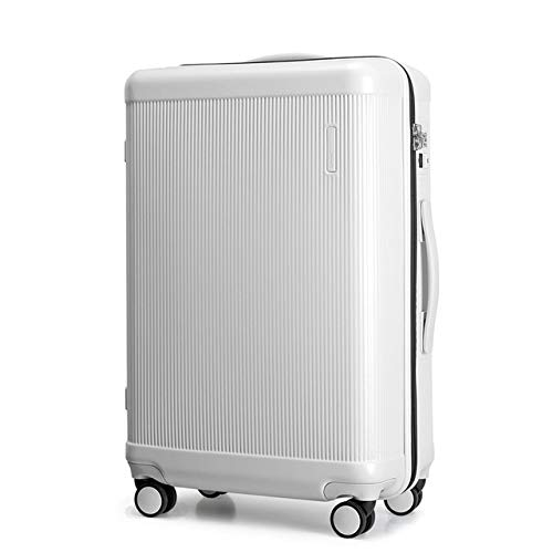 MLGB Trolley caseRolling Luggage Luxury Designer Travel Suitcase Travel Trolley Men and Women 100% Pc USB Charge Spinner Wheel 24' White
