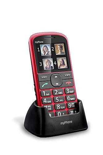 """MP myPhone Halo 2 Téléphone Portable pour Seniors avec Station de Charge, Grand écran 2,2"""" Téléphone à Touches, Bouton d'appel d'urgence, Lampe de Poche, Bluetooth, Batterie 900mAh, Caméra – Rouge"""