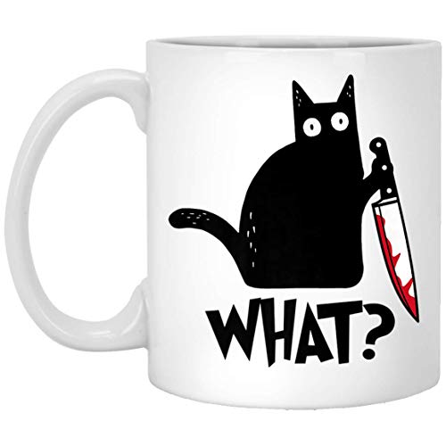 Cat What Murderous Black Cat With Knife Halloween Gift Premium T-Shirt 11 oz. White Mug