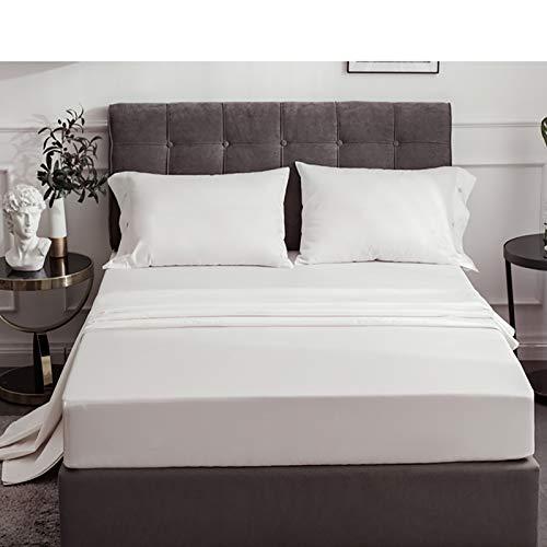 KWOPA Modern Simple Baumwolle Fitted Sheet,Atmungsaktiv Silky Satin 1-stück...