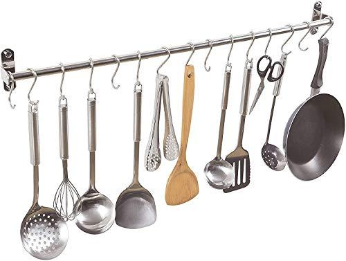 ENCOFT Colgador de Pared Organizador Barra de de Acero Inoxidable para Colgar Utensilios Toallas en Cocina Baño (80cm, Plata)