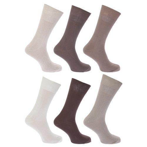 Floso Herren Socken 100prozent Baumwolle, 6er-Pack (39-45 EUR) (Brauntöne)
