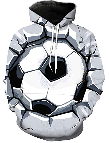 Women and Men's 3D Printed Hoodie, Football Wall Broken Novelty Sweater, Leisure Hoodies with Big Pockets, Drawstring Pullover Hooded Sweatshirts